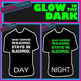 BLACKPOOL LADS FUNNY STAG PARTY HOLIDAY CLUB GLOW IN THE DARK PRINTED TSHIRT