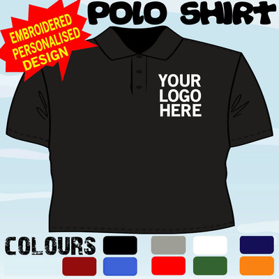 94369309f WORK WEAR PERSONALISED T POLO SHIRT EMBROIDERED FULL COLOUR LOGO X5 TOPS